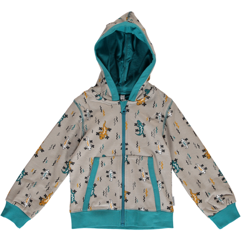 Maxomorra Cardigan Hood Lizard - little-tiger-togs
