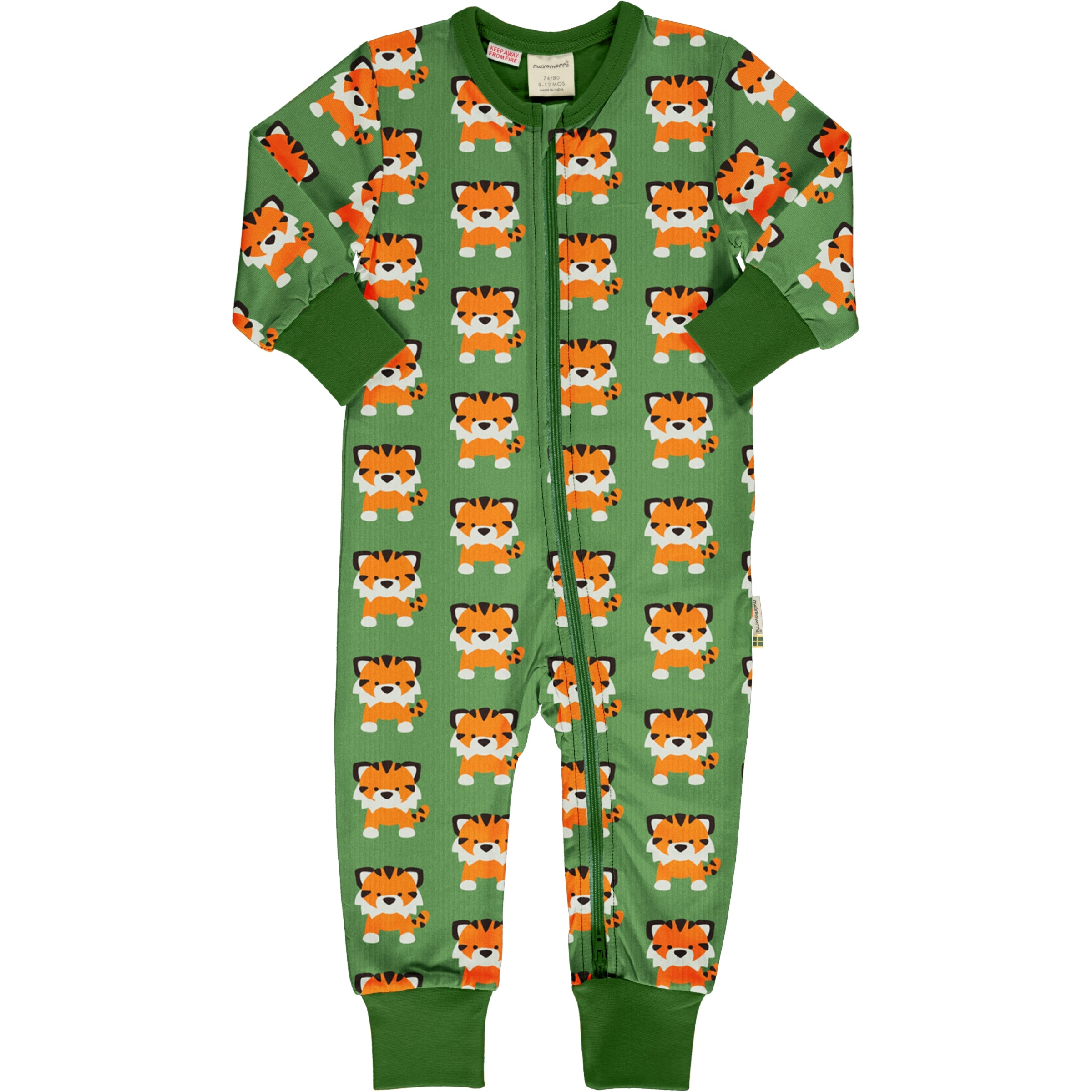 Maxomorra Rompersuit LS Tangerine Tiger,little-tiger-togs.