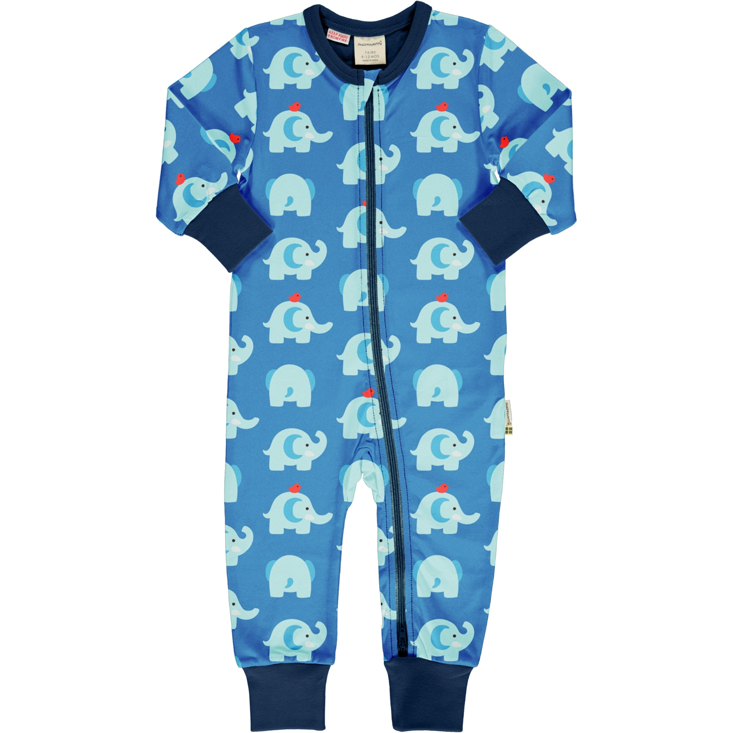 Maxomorra Rompersuit LS Elephant Friends,little-tiger-togs.