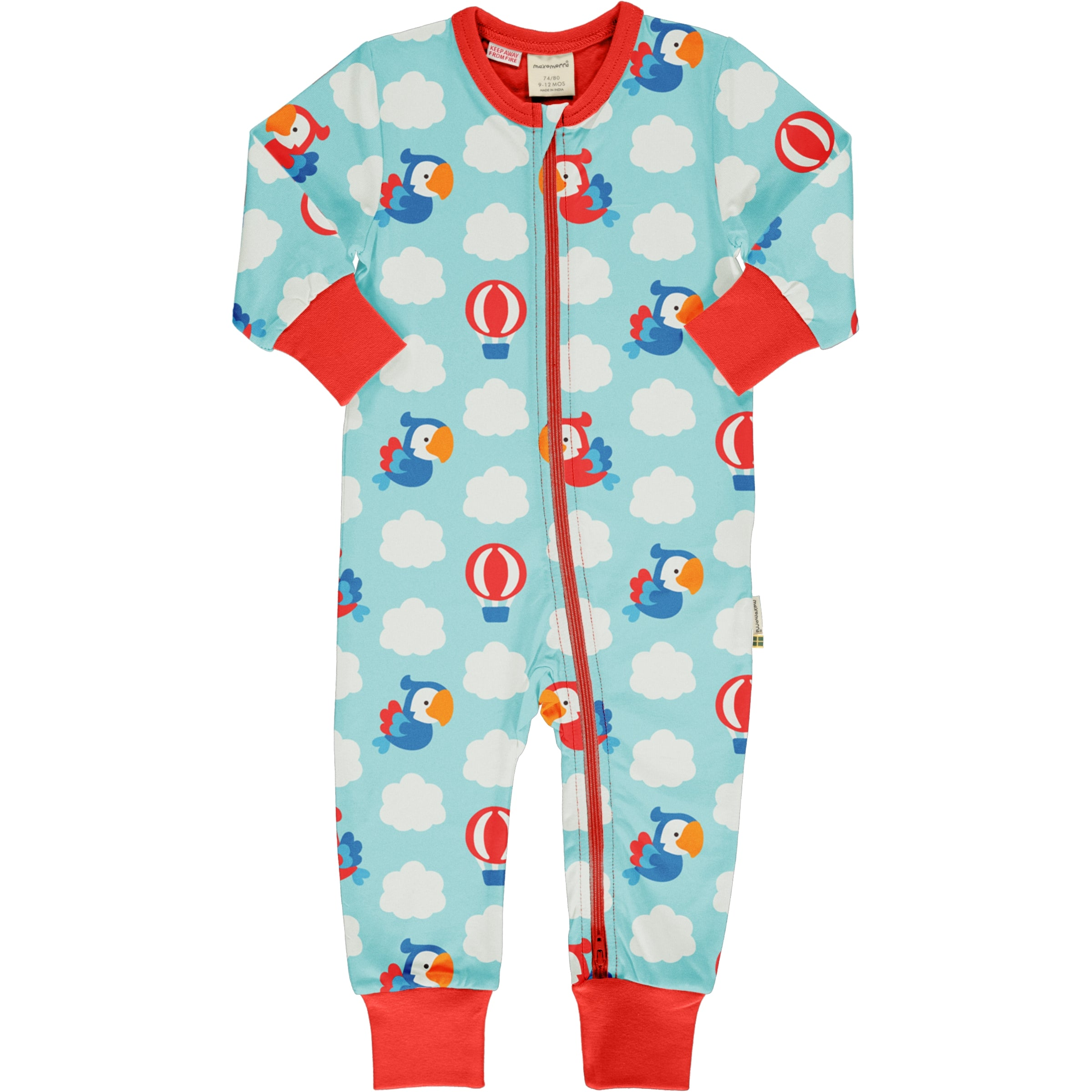 Maxomorra Rompersuit LS Parrot Safari,little-tiger-togs.