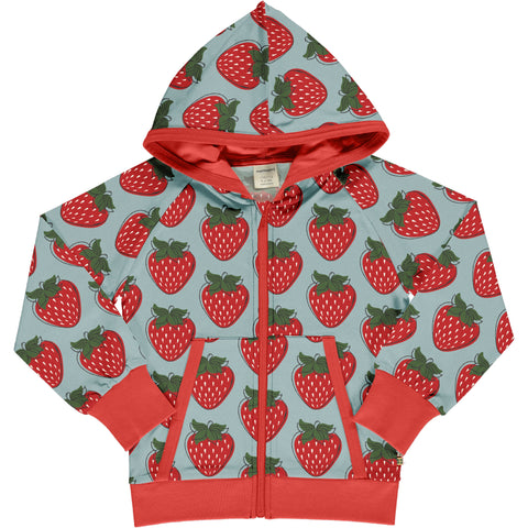 Maxomorra Cardigan Hood Sweat Strawberry,little-tiger-togs.