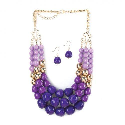 Radiant Orchid 3 Layer Beads Necklace And Earrings Jewelry Set (pack of 1 SET)
