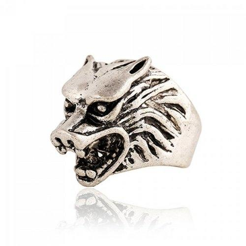 Punk Style Wolf Head Shape Ring For Men - Silver Gray One-size