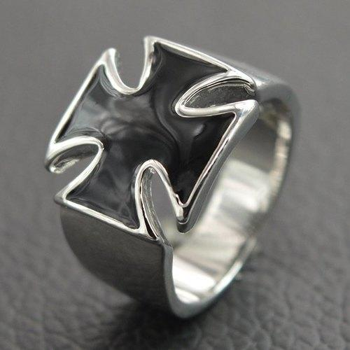 Chic Wide Glaze Cross Ring For Men - Silver One-size