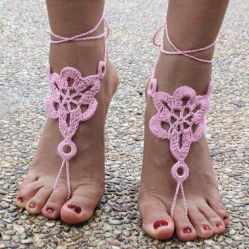 Pair of Vintage Solid Color Floral Woven Sandal Toe Ring Anklet - Pink