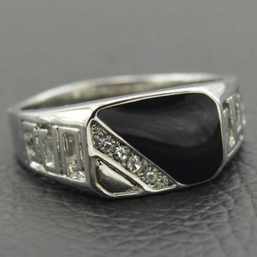 Vintage Alloy Rhinestone Geometric Ring For Men - Silver One-size