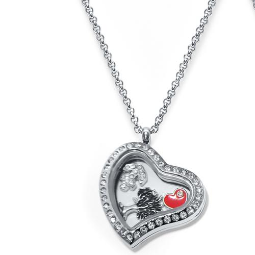 Family Heart Floating Locket ringed with stones