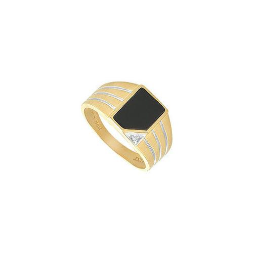 Onyx and Diamond Mens Ring : 14K Yellow Gold