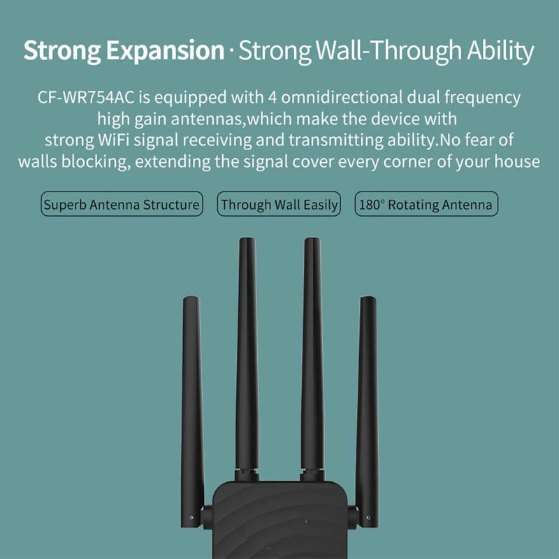 WiFi Range Extender 1200Mbps WiFi Booster AC1200 Repeater 2.4 & 5GHz Dual Band WPS Wireless Signal Strong Penetrability, Wide Range of Signals(2500FT)