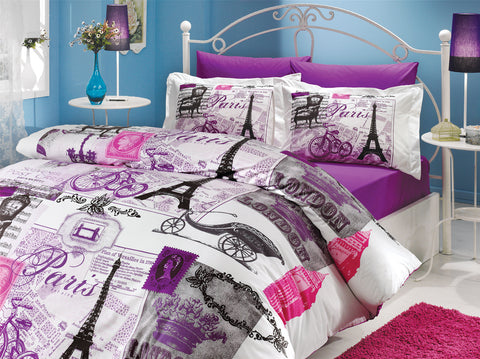 organic-cotton-quilt-cover-set-Paris-London-purple-pink-grey-white-queen-size