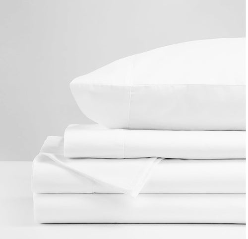 White cotton sateen sheet set luna luxury