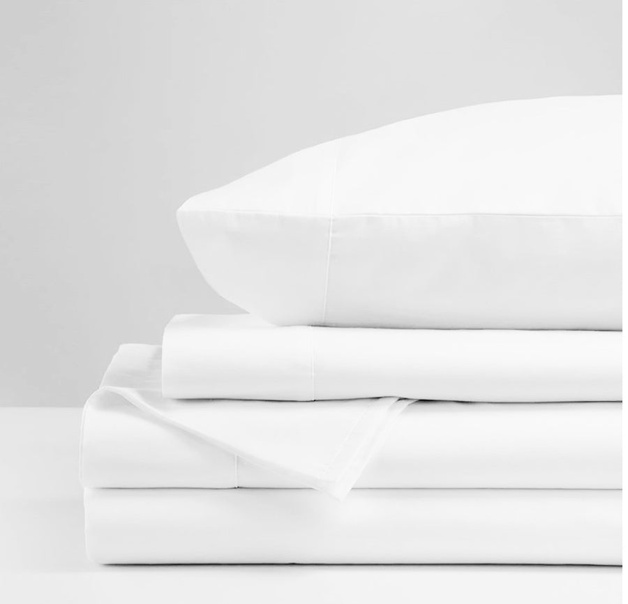 White Cotton Sateen King Deep Sheet Set 820TC