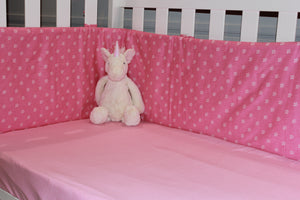 Cot Baby Bumper Flowers Pink