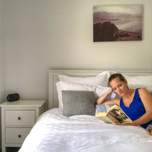 Load image into Gallery viewer, Natural-Bamboo-Queen-quilt-cover-set-Aura-Woman-on-bed-reading-book-image