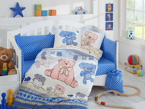 Organic-Cotton-Baby-Cot-sheet-Quilt-set-teddy-bear-Cuddly-Blue-four-piece-image