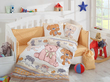 Load image into Gallery viewer, Organic-Cotton-Baby-Cot-sheet-Quilt-set-teddy-bear-Cuddly-Mustard-four-piece
