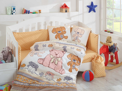 Organic-Cotton-Baby-Cot-sheet-Quilt-set-teddy-bear-Cuddly-Mustard-four-piece