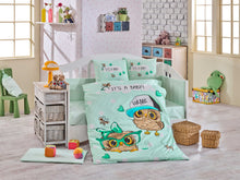 Load image into Gallery viewer, Organic-Cotton-Baby-Cot-sheet-quilt-set-Baby-Owls-Mint-Cot-Set-ten-piece-Image