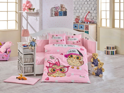Organic-Cotton-Baby-Cot-sheet-quilt-set-Baby-Owls-Pink-Cot-Set-ten-piece-Image