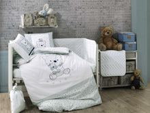 Load image into Gallery viewer, Organic-Cotton-Baby-Cot-sheet-quilt-set-teddy-bear-Bonita-Mint-four-piece-image
