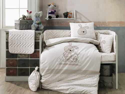 Organic-Cotton-Baby-Cot-sheet-quilt-set-Bunny-Rabbit-Elina-Beige-four-piece-image