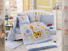 Load image into Gallery viewer, Organic-Cotton-Baby-Cot-sheet-quilt-set-Giraffe-Blue-Cot-Set-ten-piece-Image