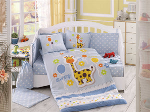 Organic-Cotton-Baby-Cot-sheet-quilt-set-Giraffe-Blue-Cot-Set-ten-piece-Image