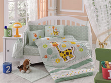 Load image into Gallery viewer, Organic-Cotton-Baby-Cot-sheet-quilt-set-Giraffe-Mint-Cot-Set-ten-piece-Image