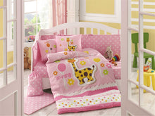 Load image into Gallery viewer, Organic-Cotton-Baby-Cot-sheet-quilt-set-Giraffe-Pink-Cot-Set-ten-piece-Image