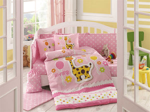 Organic-Cotton-Baby-Cot-sheet-quilt-set-Giraffe-Pink-four-piece