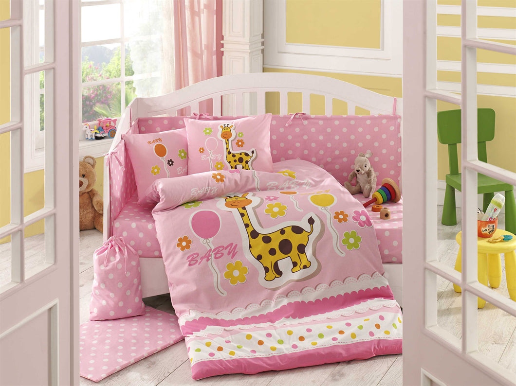 Organic-Cotton-Baby-Cot-sheet-quilt-set-Giraffe-Pink-Cot-Set-ten-piece-Image