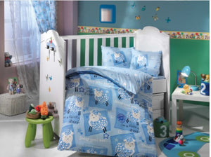 Organic-Cotton-Baby-Cot-sheet-quilt-set-Little-sheep-blue-four-piece-image