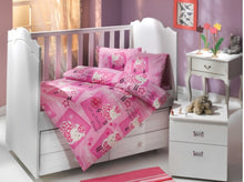 Load image into Gallery viewer, Organic-Cotton-Baby-Cot-sheet-quilt-set-Little-sheep-pink-four-piece-image
