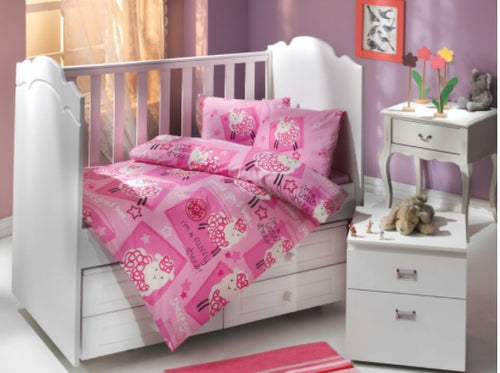 Organic-Cotton-Baby-Cot-sheet-quilt-set-Little-sheep-pink-four-piece-image