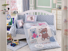 Load image into Gallery viewer, Organic-Cotton-Baby-Cot-sheet-quilt-set-Teddy-bear-blue-four-piece-image