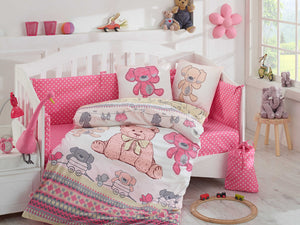 Organic-Cotton-Baby-Cot-sheet-quilt-set-teddy-bear-Cuddly-Pink-four-piece