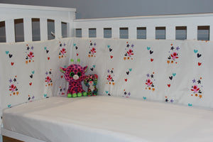 Organic-Natural-eco-friendly-cotton-half-cot-baby-bumper-birds-white-two-cats-image