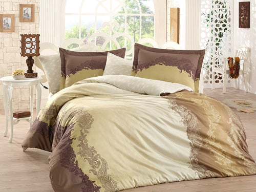 Organic-Natural-eco-friendly-cotton-sateen-quilt-cover-set-Florance-brown-gold-queen-size