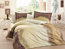 Load image into Gallery viewer, Organic-Natural-eco-friendly-cotton-sateen-quilt-cover-set-Florance-brown-gold-queen-size