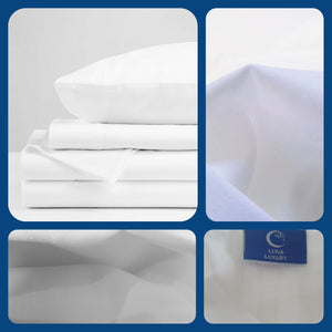 White Cotton Sateen Sheet Set 820TC