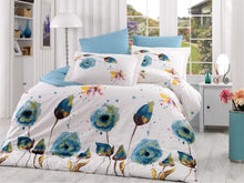 Load image into Gallery viewer, organic-cotton-quilt-cover-set-Poppy-Turquoise-white-flower-queen-size