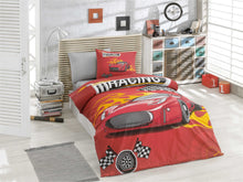 Load image into Gallery viewer, organic-cotton-quilt-cover-set-Racing-car-Red-single