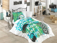 Load image into Gallery viewer, organic-cotton-quilt-cover-set-jammin-music-graffiti-speakers-green-single