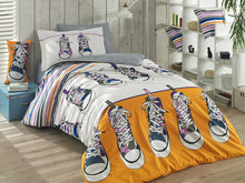 Load image into Gallery viewer, organic-cotton-quilt-cover-set-streetwise-shoes-yellow-and-white-streetwear-single