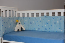Load image into Gallery viewer, organic-natural-cotton-baby-half-cot-bumper-big-star-blue-jersey-fitted-sheet-cockatoo-image