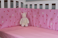 Load image into Gallery viewer, organic-natural-cotton-baby-half-cot-bumper-big-star-pink-jersey-fitted-sheet-unicorn