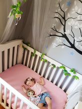 Load image into Gallery viewer, organic-natural-cotton-baby-pink-jersey-fitted-sheet-baby-sleeping-display-cot