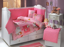 Load image into Gallery viewer, organic-natural-eco-friendly-cotton-half-cot-bumper-pink-flowers-girls-cot-display-image