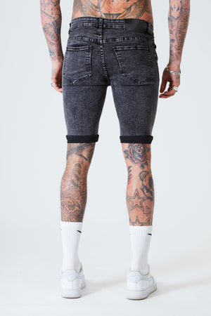 Distressed Skinny Denim Shorts - Dark Grey - SVPPLY. STUDIOS