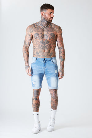 Distressed Skinny Denim Shorts - Light Blue - SVPPLY. STUDIOS